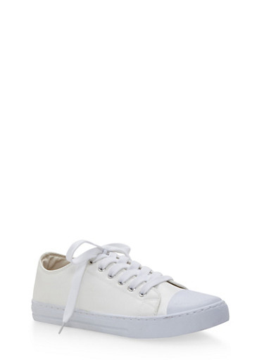 Low Top Lace Up Sneakers,WHITE,large