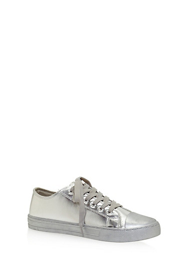 Lace Up Metallic Canvas Sneakers,SILVER,large