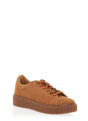 Faux Suede Creepers,CAMEL,large
