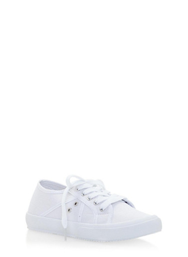 Lace Up Plimsoll Sneakers,WHITE,large