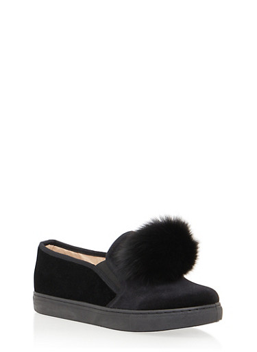 Velvet Slip On Sneakers with Faux Fur Pom Pom,BLACK,large