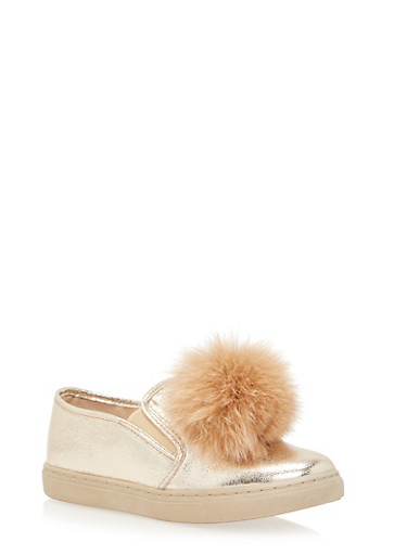 Velvet Slip On Sneakers with Faux Fur Pom Pom,GOLD,large