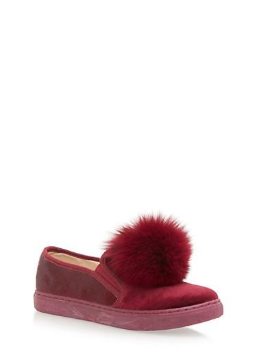 Velvet Slip On Sneakers with Faux Fur Pom Pom,BURGUNDY,large