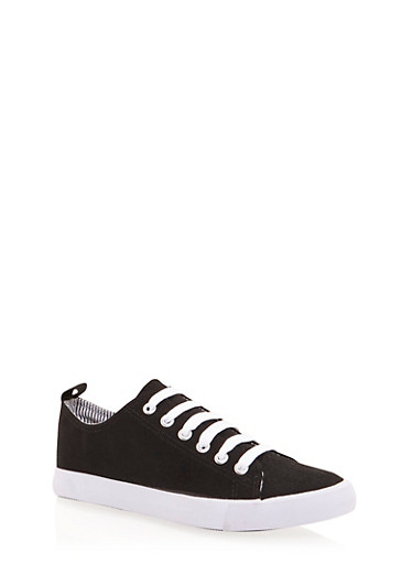 Low Top Sneakers with Striped Lining,BLACK CANVAS,large