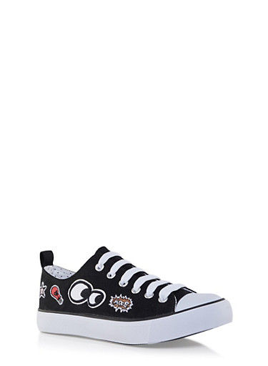 Low Top Canvas Sneakers with Patches,BLACK,large