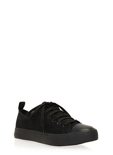 Classic Low Top Tennis Sneakers,BLACK/BLACK/FUCH,large