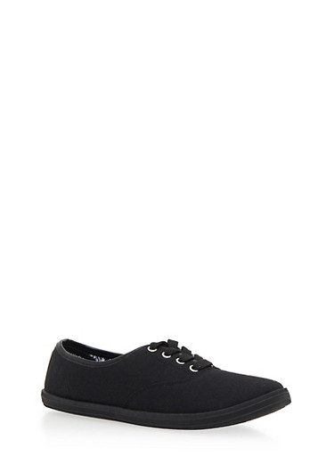Lace Up Sneakers,BLACK/BLACK,large