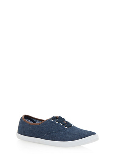 Lace Up Sneakers,BLUE DENIM,large