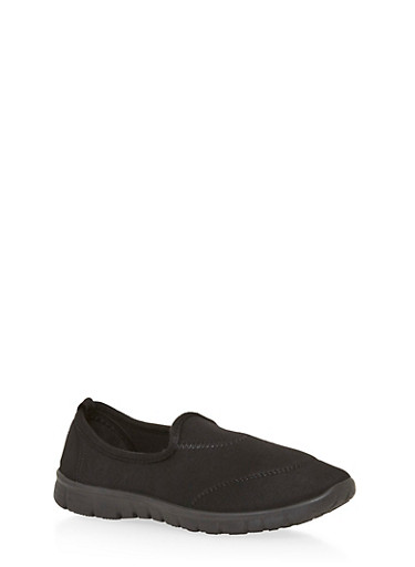 Solid Stretch Slip On Sneakers,BLACK,large