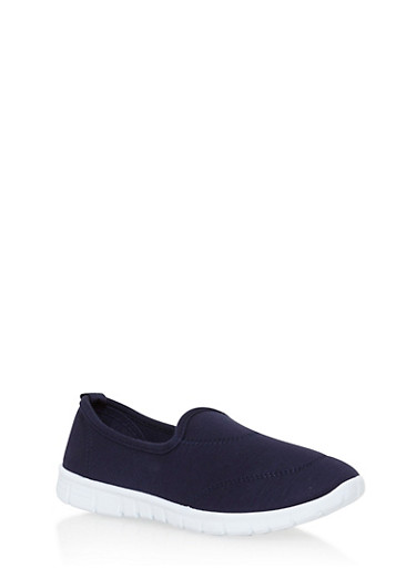 Solid Stretch Slip On Sneakers,NAVY,large