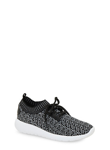 Knit Sneakers,BLACK/WHITE,large