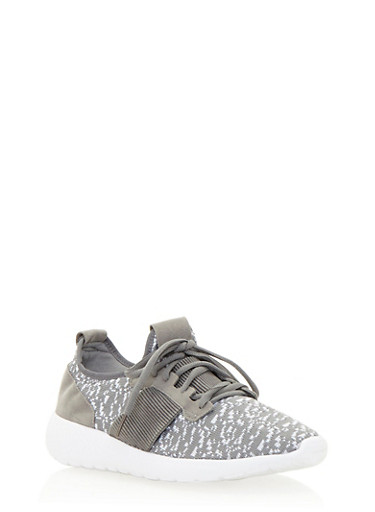 Knit Sneakers with Pleated Accent,GRAY/WHT,large