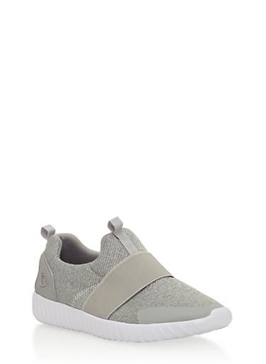 Elastic Strap Slip On Sneakers,GRAY,large
