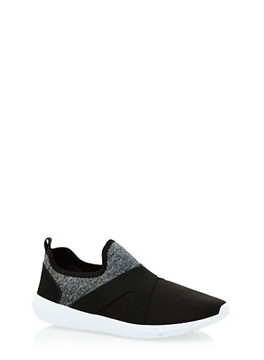 Marled Double Strap Slip On Sneakers,BLACK,large