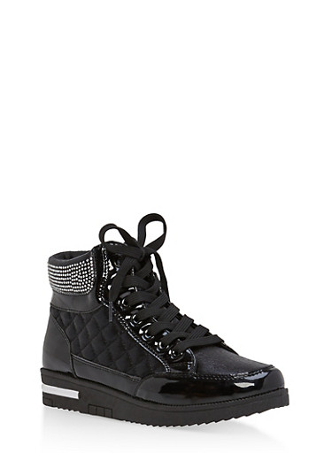 Rhinestone Embellished Lace Up High Top Sneakers,BLACK,large
