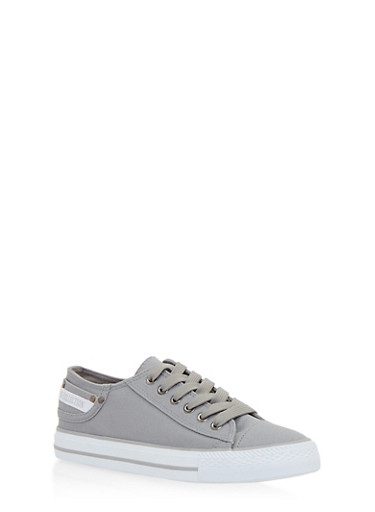 Denim Low Top Lace Up Sneakers,HEATHER GRAY,large