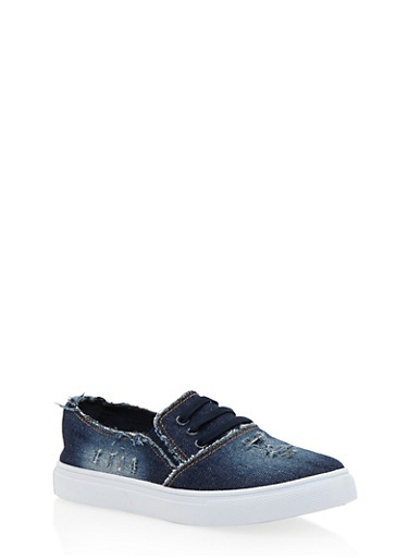 Frayed Denim Slip On Tennis Shoes with Rubber Sole,DENIM,large