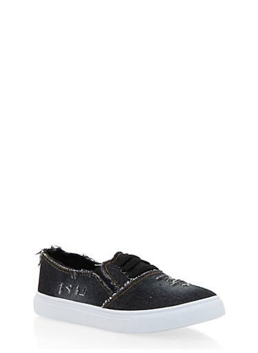 Frayed Denim Slip On Tennis Shoes with Rubber Sole,BLACK DENIM,large