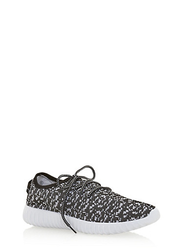 Wide Sole Pixelated Knit Sneakers,WHITE,large