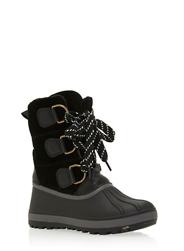 Lace Up Snow Boots with D Rings,BLACK,large