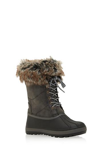 Lace Up Snow Boots with Fur Trim,BLACK,large