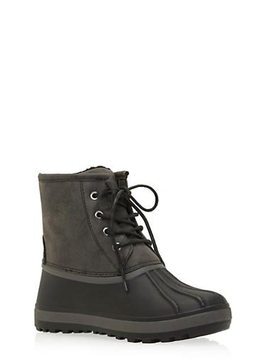Weatherproof Color Block Duck Boots,BLACK,large