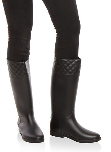 Tall Rain Boots with Quilted Detail,BLACK JELLY,large