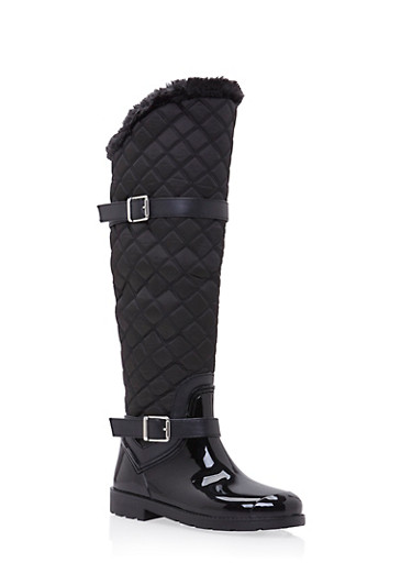 Knee High Boots with Quilted Paneling,BLACK,large