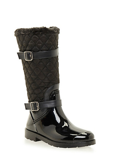 Weatherproof Boots with Quilted Paneling,BLACK,large