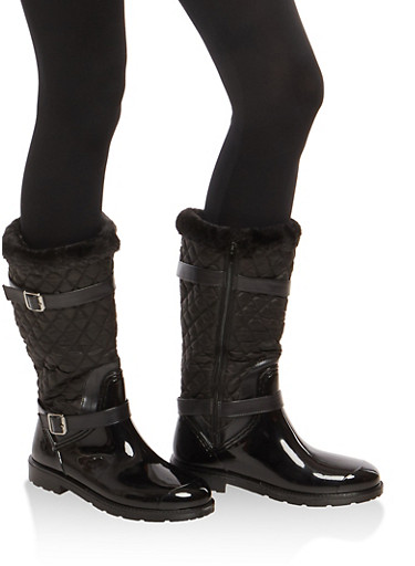 Sherpa Cuff Quilted Rain Boots,BLACK NYLON,large