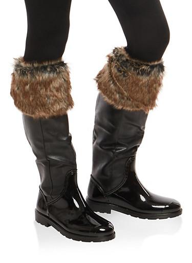 Weatherproof Faux Fur Cuffed Rain Boots,BLACK PPU,large