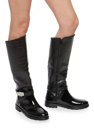 Faux Fur Lined Buckle Rain Boots,BLACK CRO,large
