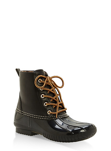 Weatherproof Lace Up Duck Booties,BLACK,large
