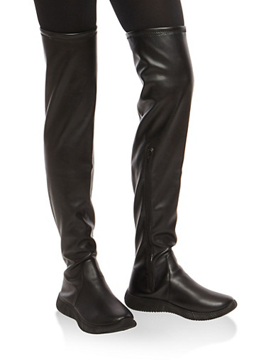 Over the Knee Boots with Sneaker Sole,BLACK SPU,large