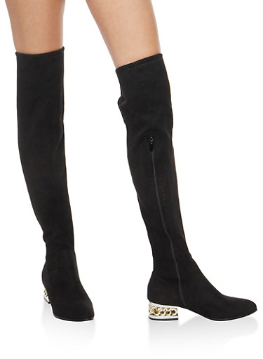 Chained Heel Over the Knee Boots,BLACK SFS,large