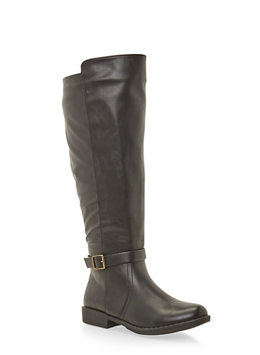 Wide Calf Knee High Boots with Buckle Strap,BLACK PU,large