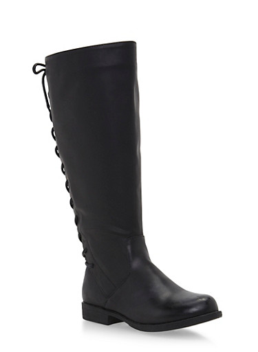 Wide Calf Tall Flat Boots with Lace Up Detail,BLACK PU,large