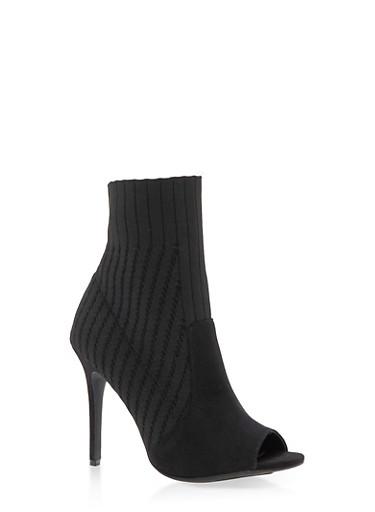 Open Toe Knit High Heel Booties,BLACK KNIT,large
