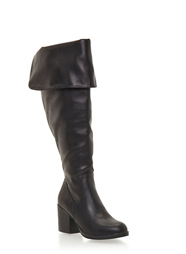Wide Calf Knee High Boots with Foldover Cuff,BLACK PU,large