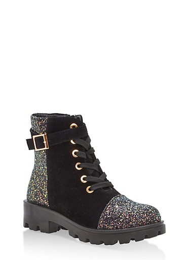 Faux Suede and Glitter Lace Up Work Boots,BLACK IKS,large