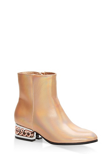 Chain Heel Pointed Toe Booties,ROSE GOLD HMP,large
