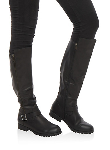 Tall Side Zip Riding Boots,BLACK BNH,large