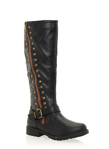 Studded Biker Boots with Double Zippers,BLACK,large