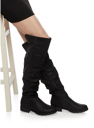 Ruched Knee High Boots with Round Toes,BLACK BURNISH,large