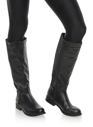 Zipper Detail Stretch Tall Boots,BLACK,large
