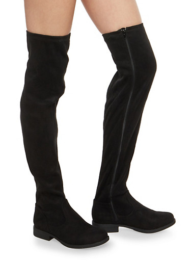 Over the Knee Faux Suede Boots,BLACK F/S,large