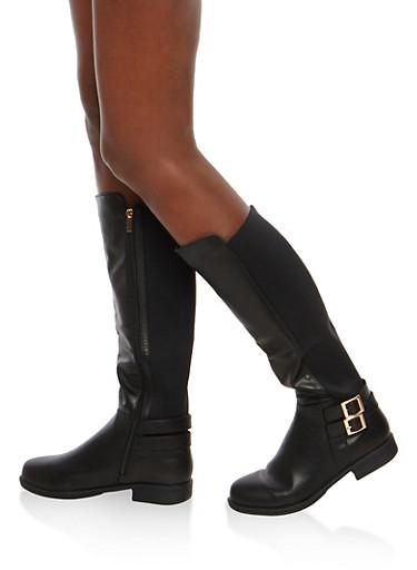 Double Buckle Faux Leather Riding Boots,BLACK CRP,large