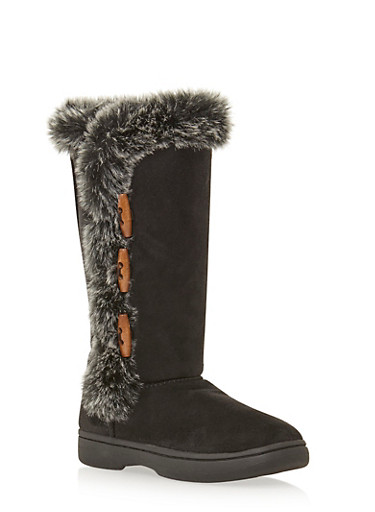 Faux Suede Boots with Faux Fur Trim,BLACK F/S,large