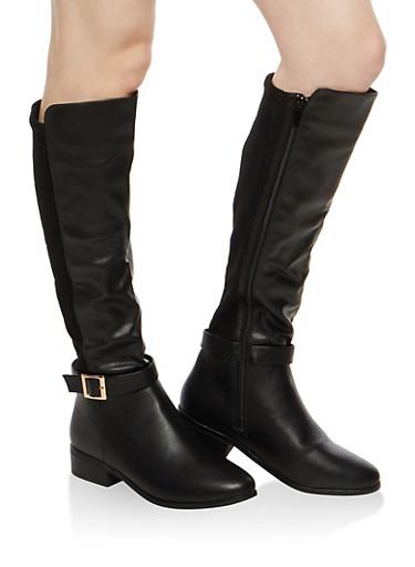 Rib Knit Calf Insert Riding Boots,BLACK CRP,large