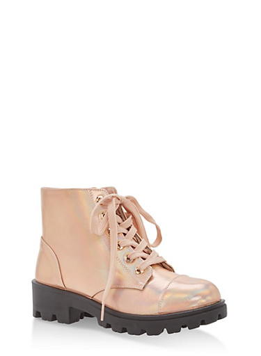 Faux Leather Lace Up Lug Sole Booties,ROSE GOLD HMP,large